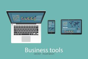 Business laptop, tablet and smartphone vector
