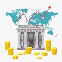 Global economy bank with pile of coins vector