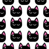 Little black cat face seamless pattern vector