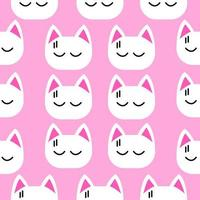 Little white cat face seamless pattern