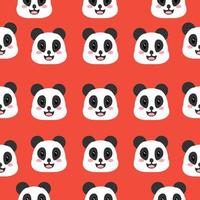 Smiley panda face pattern vector
