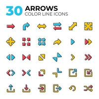 Set of colorful line arrow icons vector