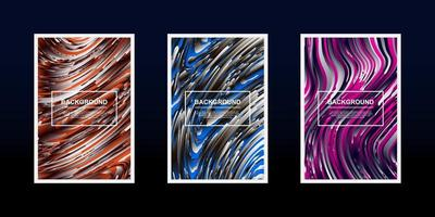 Set of color and silver textured line wave cards vector