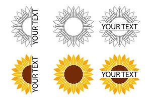 Sunflower icons set vector