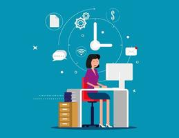 Designer woman working with creative process icons vector