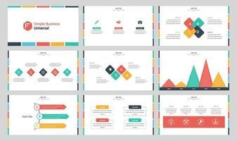 Simple colorful business presentation slides vector