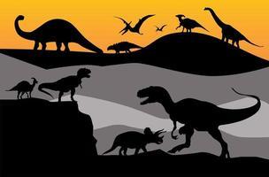 Dinosaur silhouette set vector