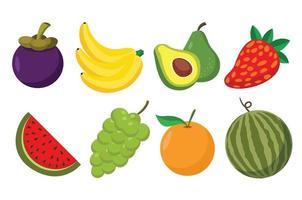 conjunto de frutas dos desenhos animados