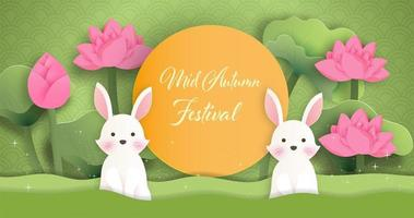 Mid Autumn Festival banner with rabbits in garden vector