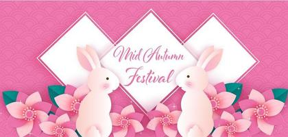 Paper art mid autumn festival banner with rabbits in flowers vector