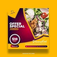 Red and Yellow Tasty Restaurant Social Media Banner vector