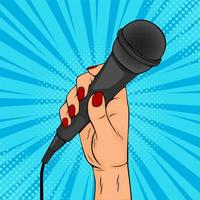 Pop art poster with female hand holding microphone vector