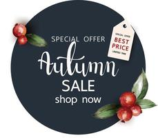 Watercolor style Autumn elements circle sale sign