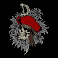 Pirates skull and sword on flowers and leaves