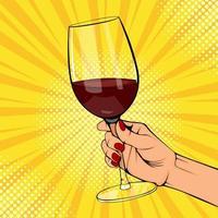 Pop art poster of female hand holding red wine vector