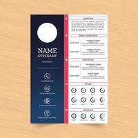 diseño de plantilla de curriculum vitae moderno azul y rosa vector