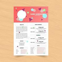 Colorful Geometric Header Curriculum Vitae Design vector