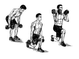 Hand drawn sketch of man exercising with dumbbell vector