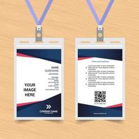 Simple Blue and Red Angled ID Card vector