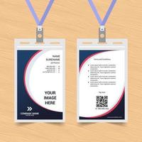 Blue and Red Rounded Shape ID Card vector