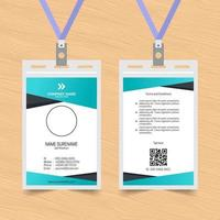 Green and Black Angle ID Card Template vector