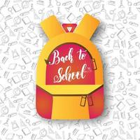 Back to school lettering on backpack over  pattern