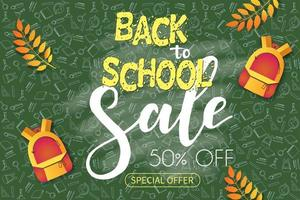 Back to school sale poster with sketch supplies
