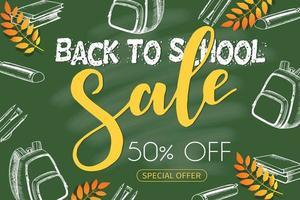 Back to school sale chalkboard with hand drawn symbols