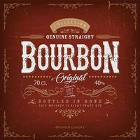 rótulo de bourbon vermelho vintage para garrafa vetor