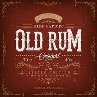 Vintage Red Old Rum Label Template For Bottle