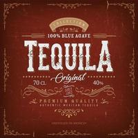 rótulo de tequila vermelho vintage para garrafa vetor