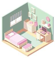 Isometric pink and green bedroom