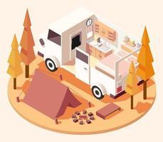 composition isométrique du camping-car vecteur