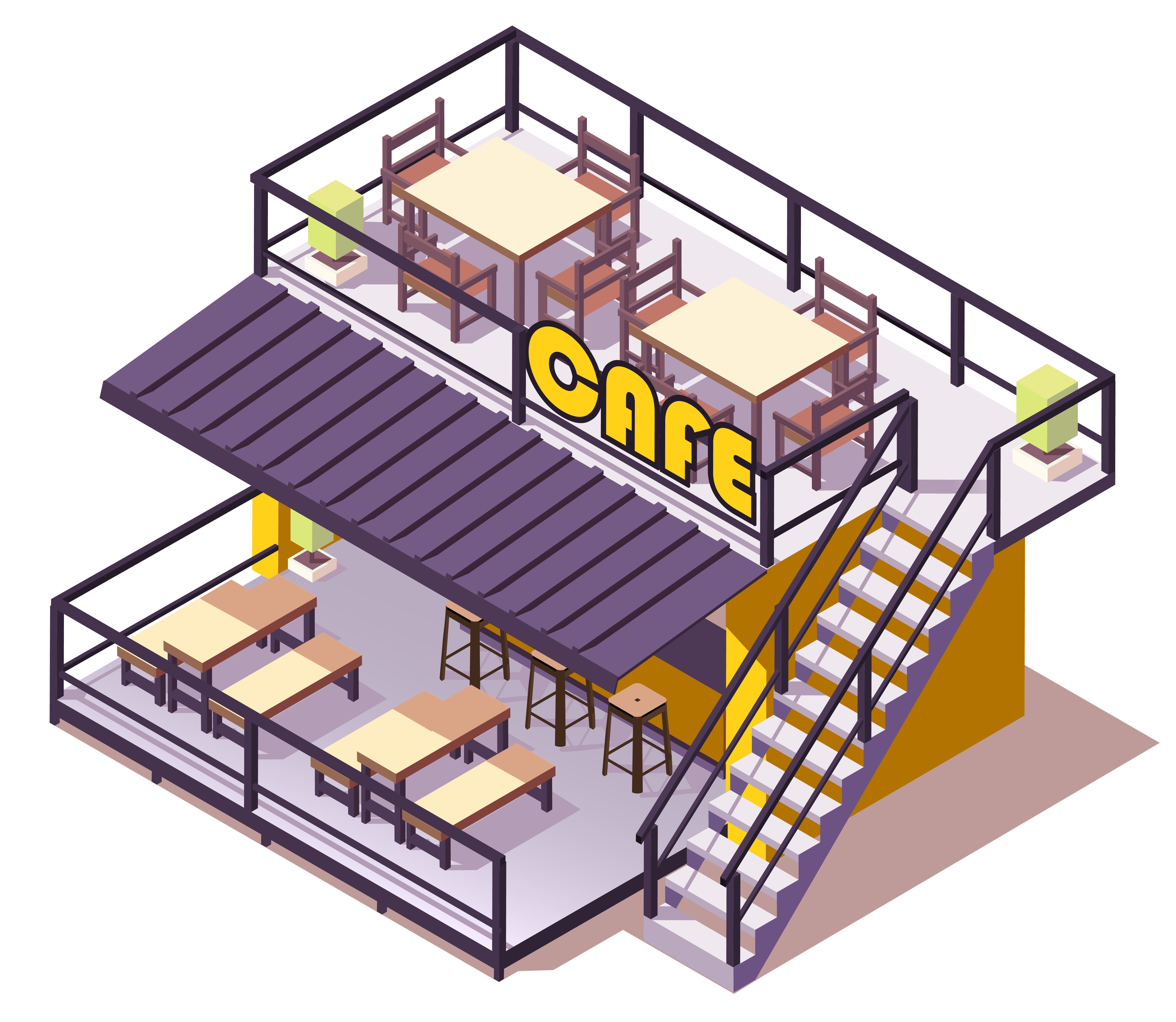 Cafe Contenedor Isometrico Descargar Vectores Gratis Illustrator Graficos Plantillas Diseno
