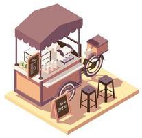 bicicleta de carrito de café isométrica vector