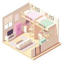 composición isométrica del dormitorio en colores pastel vector
