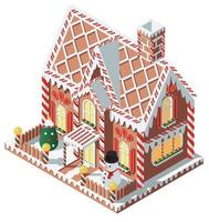 Isometric gingerbread house with snowman
