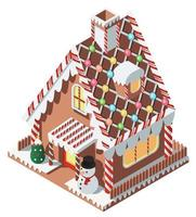 Isometric cute small gingerbread house
