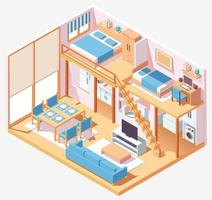 Two story house interior isometric composition