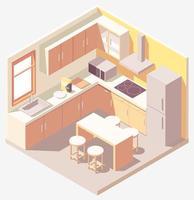 Isometric pastel orange kitchen vector