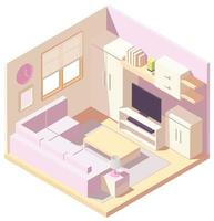 Pastel pink isometric living room