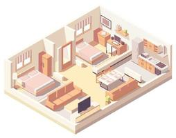 Isometric indoor house composition