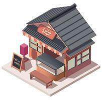 Japanease and kiosk shop isometric composition