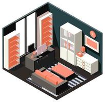 Isometric orange workroom vector