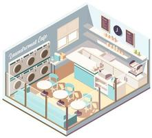 Laundromat cafe isometric composition vector