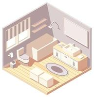 Isometric brown modern bathroom interior
