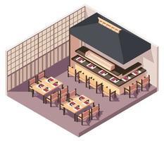 Isometric Japanese restaurant vector