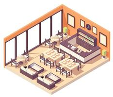Isometric restaurant composition vector