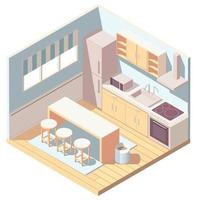 Isometric kitchen interior with kitchenware vector
