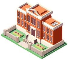 isometric School building vector